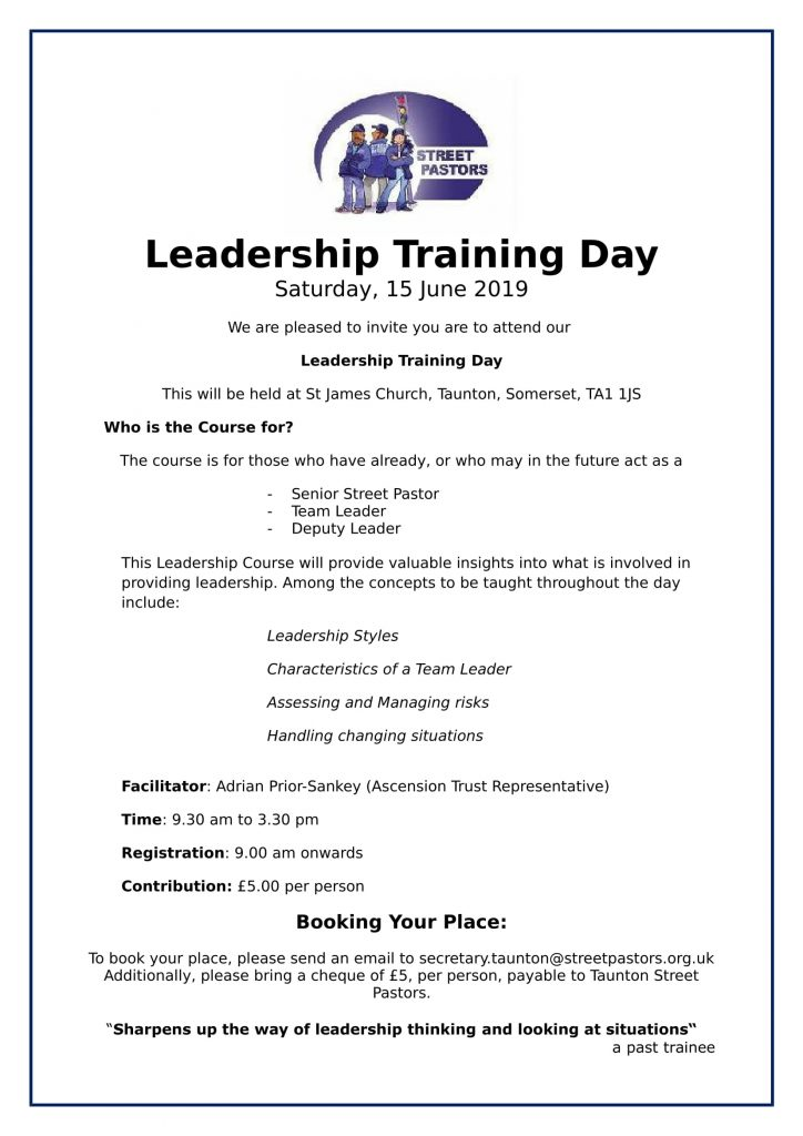 Leadership Training Day in Taunton - Street Pastors